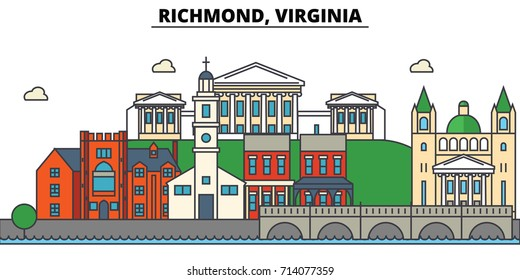 Richmond, Virginia. City skyline: architecture, buildings, streets, silhouette, landscape, panorama, landmarks. Editable strokes. Flat design line vector illustration concept. Isolated icons
