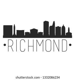Richmond Virginia. City Skyline. Silhouette City. Design Vector. Famous Monuments.