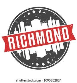 Richmond Virginia Round Travel Stamp Icon Skyline City Design