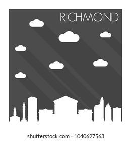 Richmond Virginia Skyline City Flat Silhouette Design Background