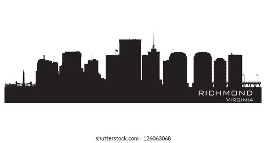 Richmond, Virginia skyline. Detailed city silhouette. Vector illustration