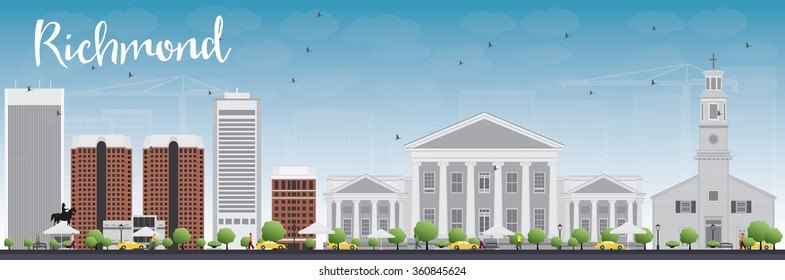 Richmond (Virginia) Skyline with Gray Buildings and Blue Sky. Vector Illustration. Business Travel and Tourism Concept with Modern Buildings. Image for Presentation, Banner, Placard and Web Site.