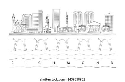 Richmond, Virginia skyline minimal linear vector illustration and typography design