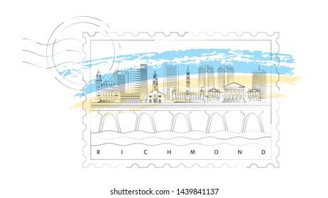 Richmond, Virginia skyline stamp vector illustration and typography design