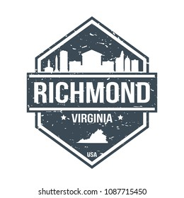 Richmond Virginia Travel Stamp Icon Skyline City Design Tourism