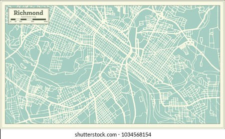 Richmond Virginia USA City Map in Retro Style. Outline Map. Vector Illustration.