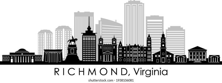 RICHMOND Virginia USA City Skyline Vector