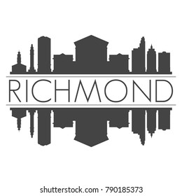 Richmond Virginia USA Skyline Vector Art Mirror Silhouette Emblematic Buildings