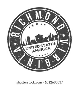 Richmond Virginia USA Stamp Logo Icon Skyline Silhouette Symbol Round Design Skyline City
