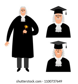 Richter. Cartoon judge vector illustration, legal court character in mantle isolated on white background