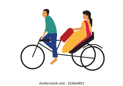 rickshaw puller, driving with a woman