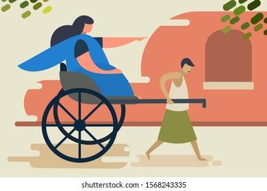 A rickshaw puller with his customer. A scene from city of Kolkata, India.