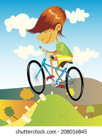 Ride a bike. Illustration of a skinny boy with red head riding a blue bike in summer. Hilly landscape under the blue sky with white clouds.