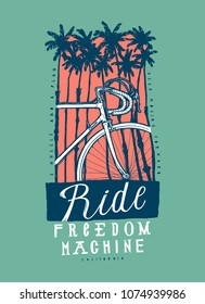 Ride freedom machine - vintage tropical palm trees t-shirt print