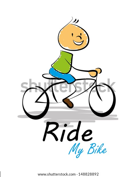 Ride My Bike Over White Background Stock Vector Royalty Free