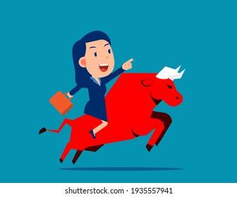 Ride a red bull. Bull market concept. Flat cartoon vector style design