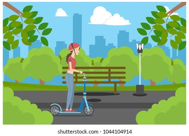 ride a scooter in the park, vector illustration