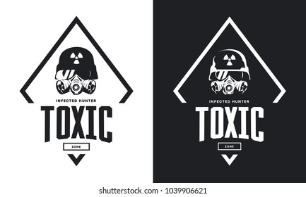 Rider in helmet and gas mask black and white isolated vector logo. Premium quality toxic chemical zone logotype t-shirt emblem illustration. Street wear superior warrior soldier retro tee print design