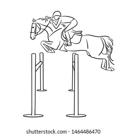 Rider and horse jump over obstacle