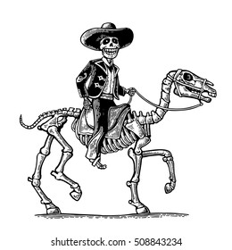 The rider in the Mexican man national costumes galloping on skeleton horse. Day of the Dead, Dia de los Muertos. Vector hand drawn vintage engraving for poster, label. Isolated on white background