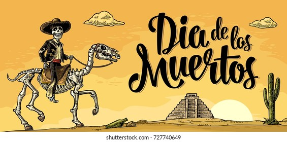 The rider in the Mexican man national costumes galloping on skeleton horse. Dia de los Muertos lettering. Panorama desert and sunset sky with clouds and cactus. Vector color vintage engraving.