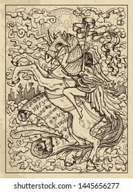 Rider. Mystic concept for Lenormand oracle tarot card. Vector engraved illustration. Fantasy line art drawing and tattoo sketch. Gothic, occult and esoteric background