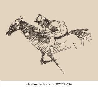 Rider on a horse (jockey) engraved retro style, hand drawn, sketch