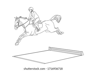 Rider on a horse jumping over water obstacle