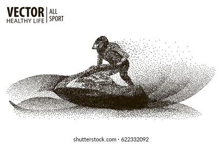 Rider on a water scooter. Sport. Particle. Jet ski stylized symbol. Isolated on a white background. Vector illustration.