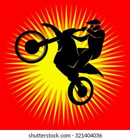 Rider participates motocross championship.  Sport symbol Vector illustration.