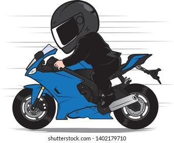 Rider Speeding Motorcycle in Black Suit