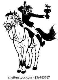 rider winner,equestrian sport,black and white cartoon isolated illustration