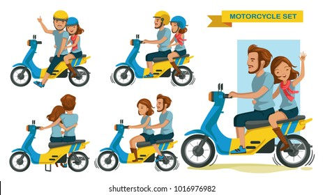Riders couple trip travel relax. romantic Honeymoon Moments. man with woman riding motorcycle different gestures set. Cartoon character. vector illustration isolated on white background.