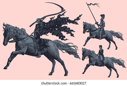 Riders. Design set. Hand drawn engraving. Vector vintage illustration. Isolated on color background. 8 EPS