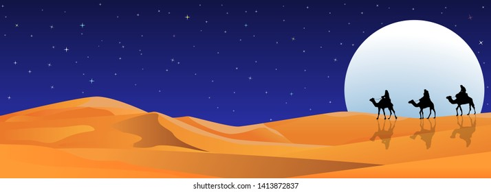 Riders on camels on the background of the night starry sky. Moonlight night. Sandy desert.