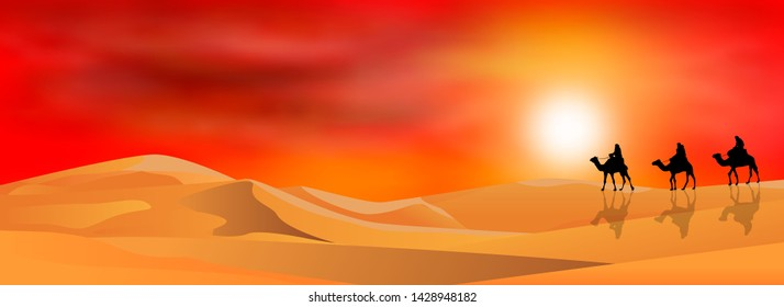 Riders on camels in the background of the sunset. Sandy desert. Sand desert landscape.