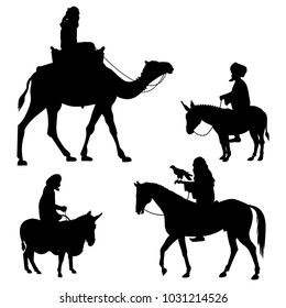 Riders on different animals - camel, horse and donkey. Set of vector black silhouettes on white background
