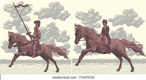 Riders on horseback. Design set. Hand drawn engraving. Vector vintage illustration. Isolated on light background. 8 EPS