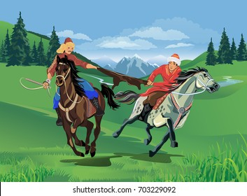 Riders on horses during the holiday Nauryz. Vector illustration.