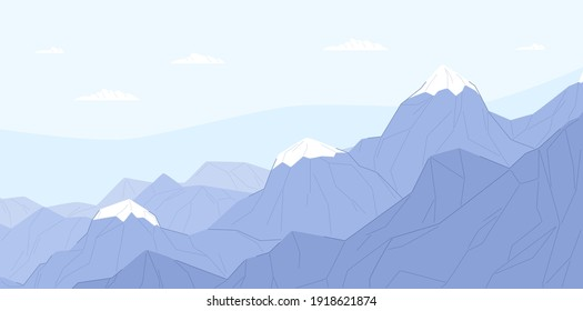 Ridge of blue mountains with ice peaks. Calm and peaceful scene of Alps. Serene landscape with mounts. Flat vector illustration