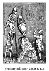 Ridiculous Taste or the Ladies Absurdity where One of the many caricatures of the extravagant fashions in headdress of both sexes during the eighteenth century, vintage
