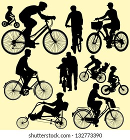 riding bicycle - vector