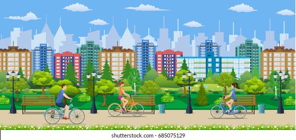 Riding Bicycles In Public Park, Vector illustration in flat design