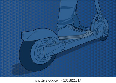 Riding a electric scooter