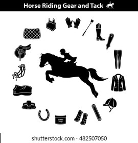 Riding Horse Silhouette. Equestrian Sport Equipment Icons Set. Gear Tack accessories. Jacket, english saddle, breeches, boots, chaps, whip, horseshoes,, pad, blanket, girth, fly mask, snaffle bit