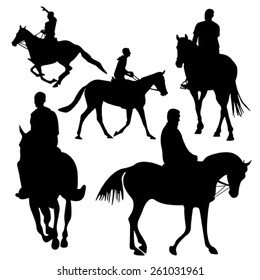 Riding horse silhouette, isolated