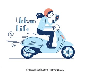 Riding retro scooter in the city vector illustration in flat design. Woman in helmet riding vintage looking motorbike, side view. Urban life. She is holding a coffee or something to drink.
