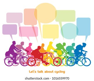 Riding and talking. Group of cyclists riding bikes and talking about cycling. Vector illustration.