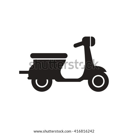 Riding Vespa Flat Icon Black White Stock Vektorgrafik Lizenzfrei