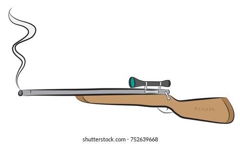 Rifle gun with optic viewfinder.